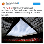 Manchester United will Honors Calabar 7, Players to wear Black armbands against Swansea