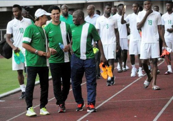 Super Eagles Technical Adviser, Gernot Rohr and his coaching crew with some of the players