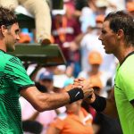 Roger Federer reacts to Rafael Nadal winning the US Open