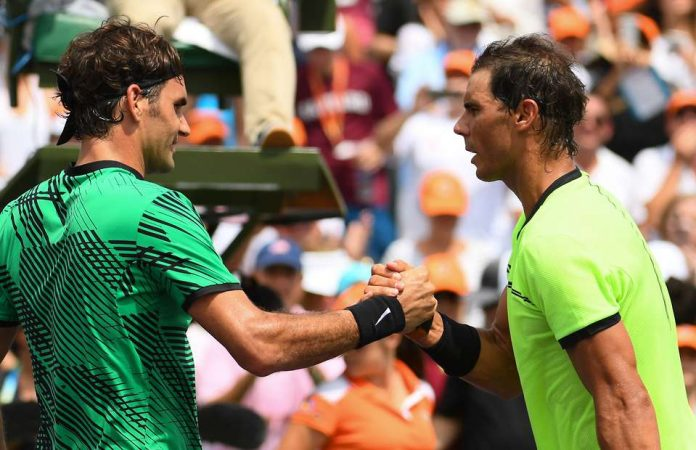 Roger Federer reacts to Rafael Nadal's US Open victory