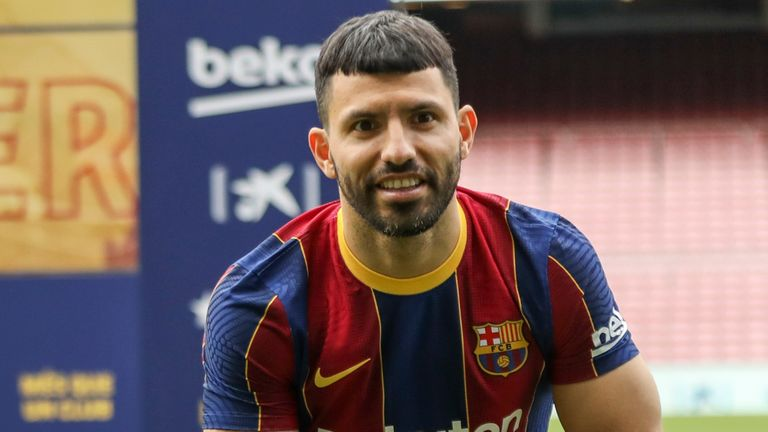 Barcelona welcomes Man City legend Aguero to Camp Nou