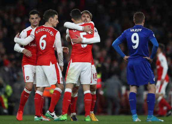 Arsenal 1-0 Leicester: Late Robert Huth own goal hands Gunners victory
