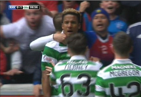 Rangers fan captured on TV appearing to make monkey gestures at Celtic star Scott Sinclair during Old Firm derby