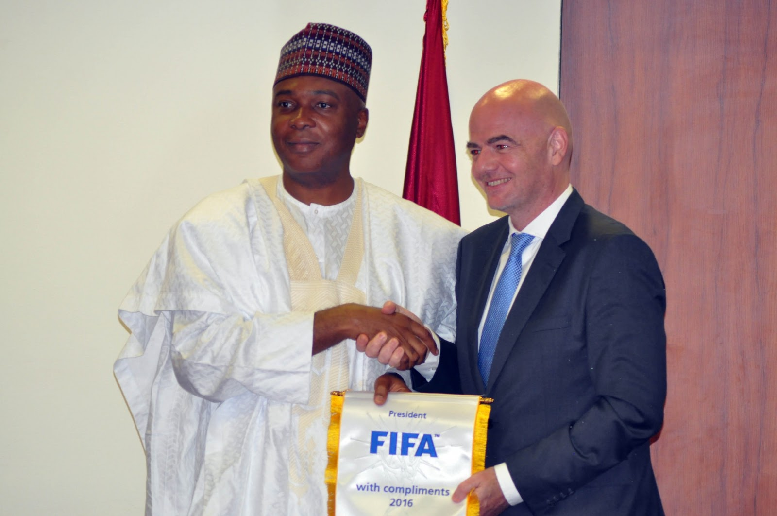 President of Senate, Speaker of House of Reps congratulates NFF President, Amaju Pinnick