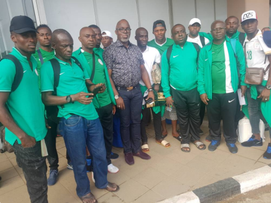 Pinnick Receives Sand Eagles as they Touch down in Nigeria