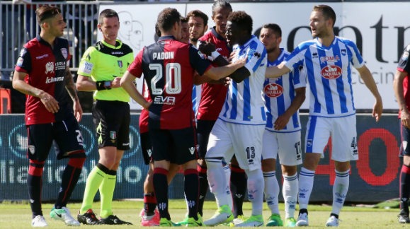 Pescara's Sulley Muntari didn't get Support from his Serie A Club after One-match ban for Protesting Racial Attack