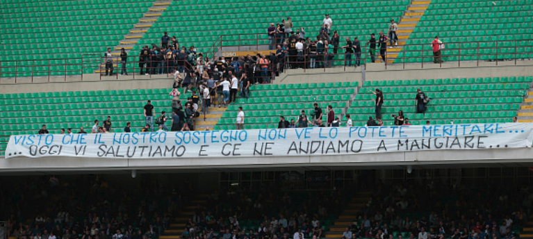 Inter Milan fans walk out 'to have lunch' as Nerazzurri's miserable season takes another turn