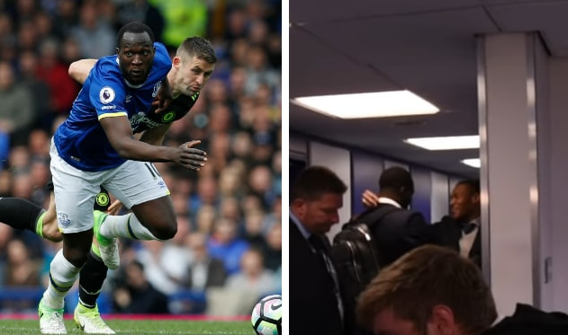 Lukaku spotted embracing Chelsea transfer chief Michael Emenalo after Goodison Park defeat
