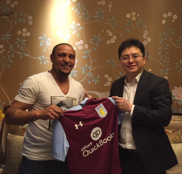 Roberto Carlos 'signs' for Aston Villa as chairman Dr Tony Xia announces cheeky deal
