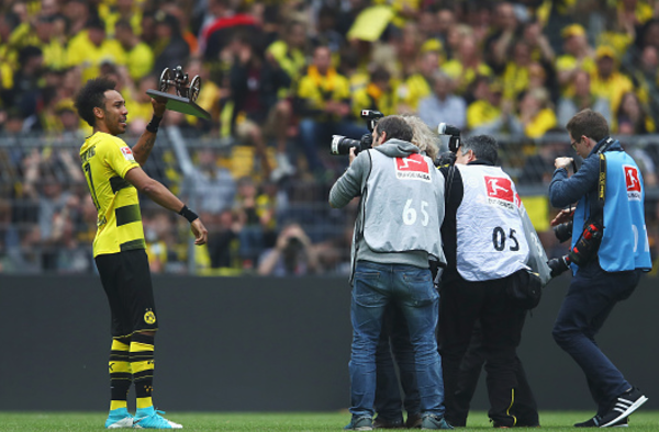 Aubameyang Bundesliga top scorer as Lewandowski draws final-day blank