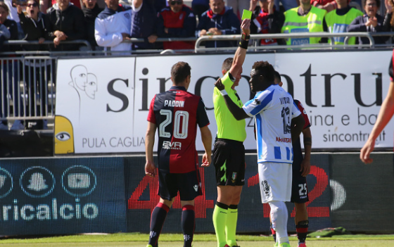 Muntari Booked By Referee for Walking Off the Pitch after He Complains of Racist Chants