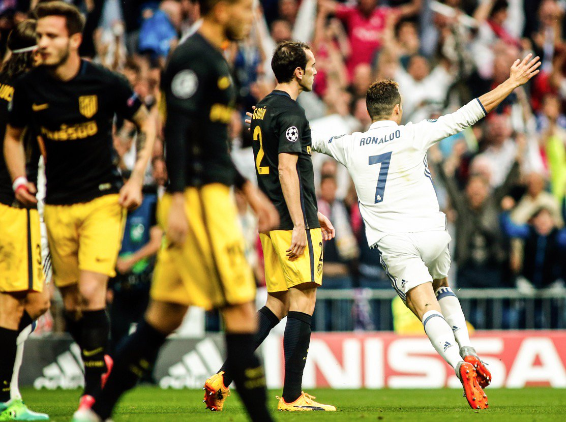Ronaldo's hat trick sinks Atletico, Real moves Closer to Champions League Final