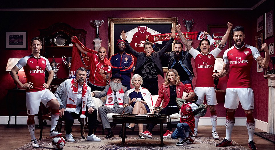 e13541967 Arsenal unveils 2017 2018 home kit as Ozil and Sanchez style in new ...