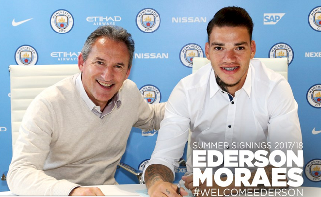 Manchester City sign Benfica goalkeeper Ederson for £35m