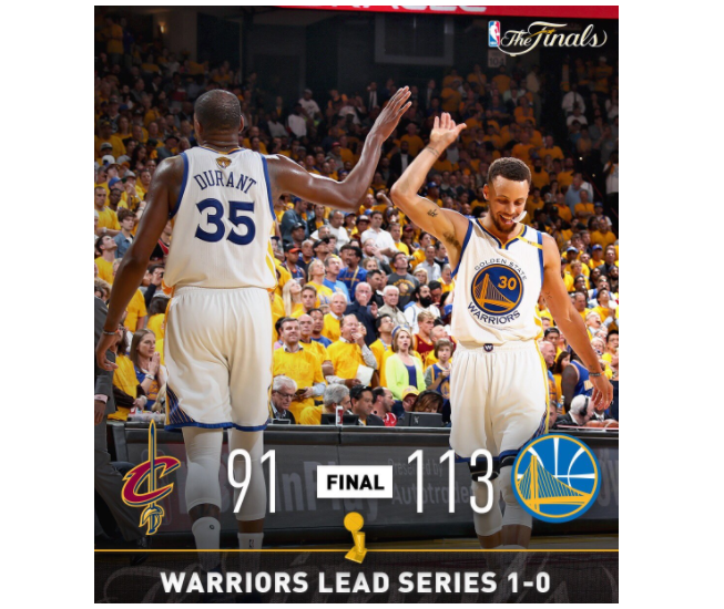NBA Finals: Warriors defeat Cavs, and ref throws ball into Steph Curry's face