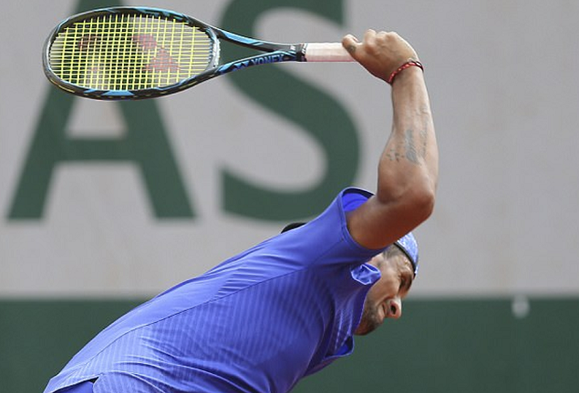 Nick Kyrgios furiously smashes racket during French Open defeat by Kevin Anderson