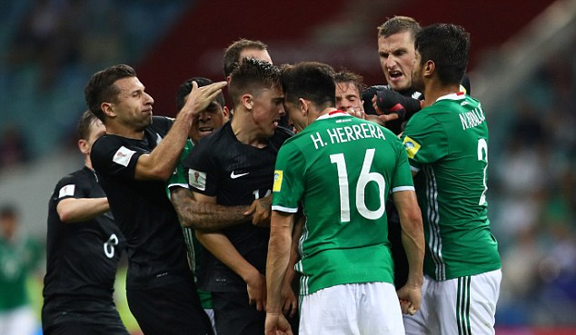 Mexico 2-1 New Zealand after raging clash