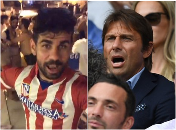 Diego Costa sends a message to Chelsea Manager as he dances in an Atletico Madrid Jersey
