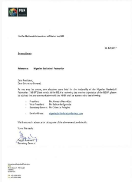 NBBF , FIBA, Kida Musa