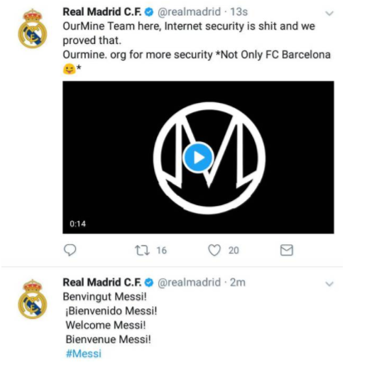 Welcome Messi, Real Madrid, Hacked witter