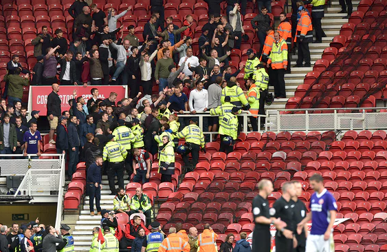 Fracas during Middlesbrough match leaves Children and Police Officer Injured