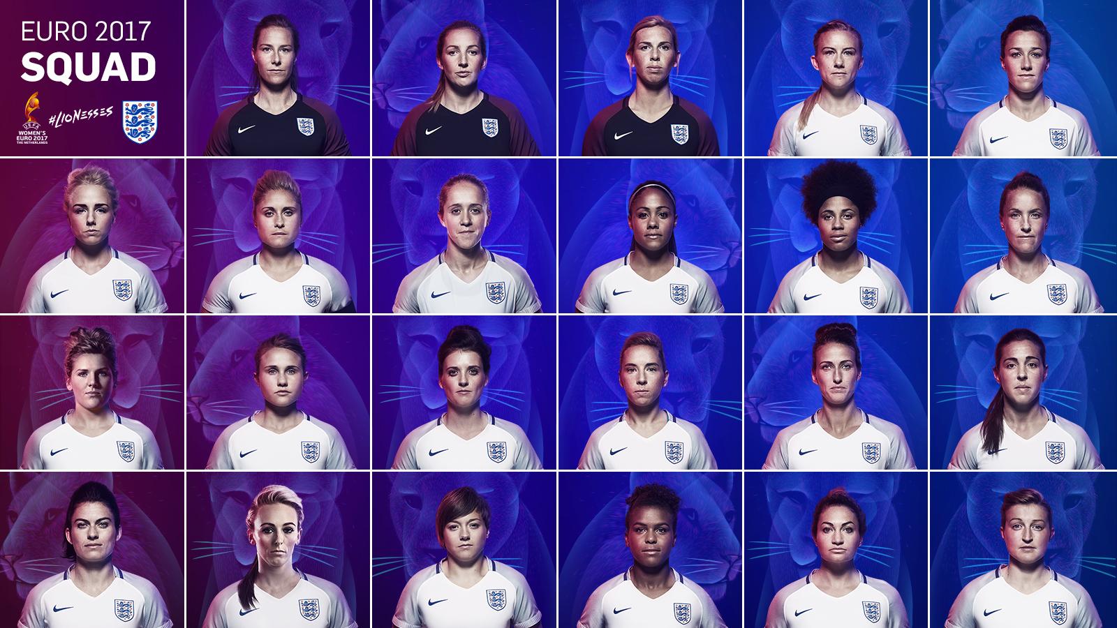 England's Euro 2017 lioness squad