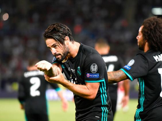 Isco celebrating his goal against Manchester United