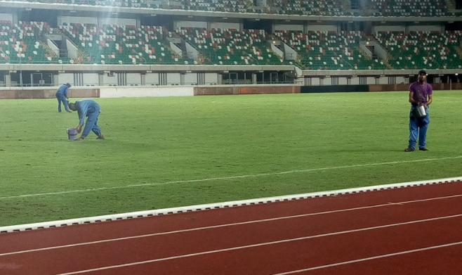 Nigeria v Cameroon: Groundsmen Give Nest of Champions Turf last touch on matchday Eve