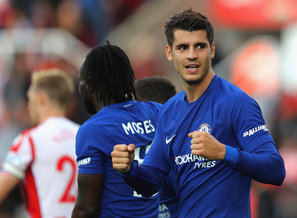 Moses, Morata Celebrate Chelsea's 4-0 win over Stoke, and latter bagged a hat-trick