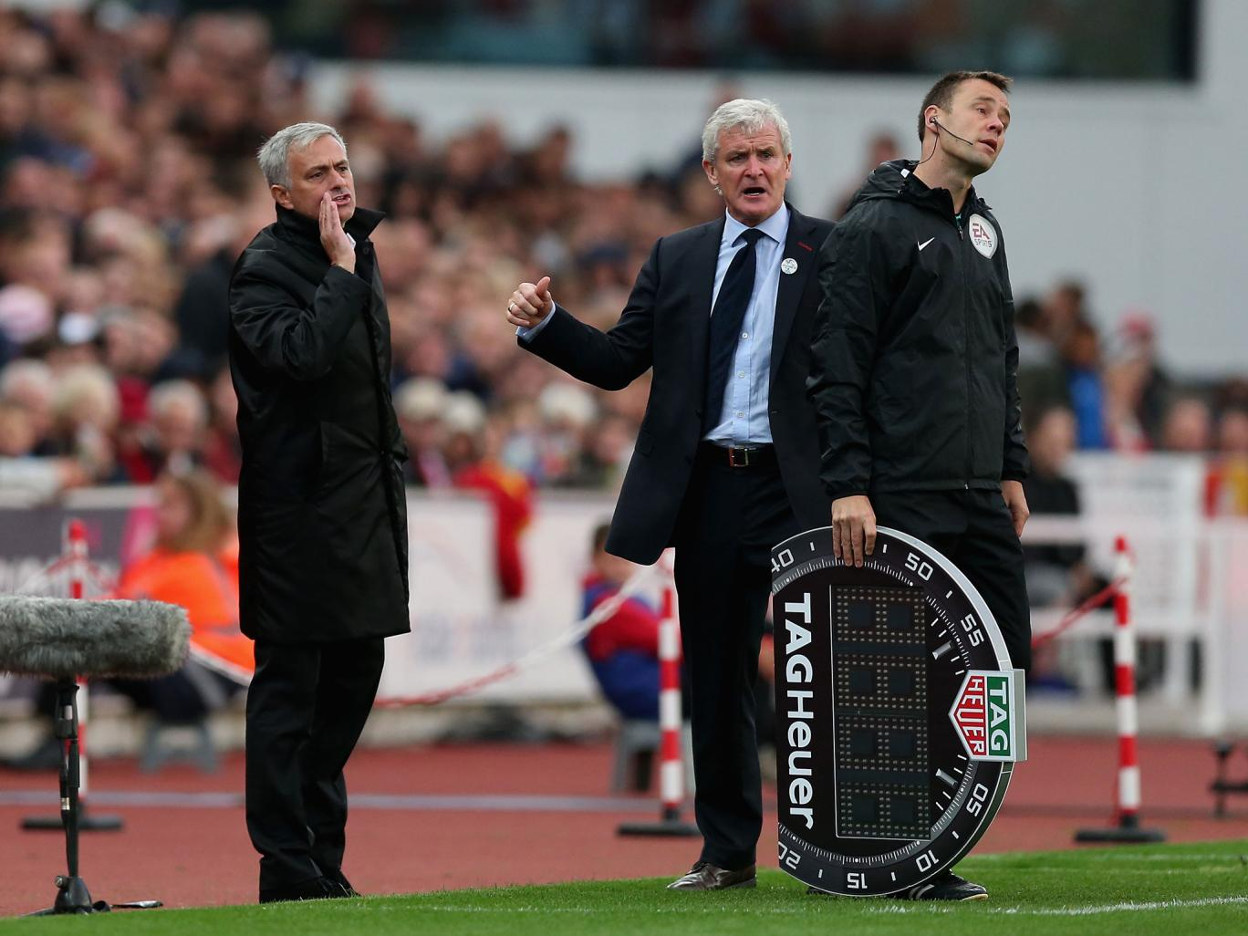 Mark Hughes says he pushed Jose Mourinho after Manchester United manager encroached in technical area