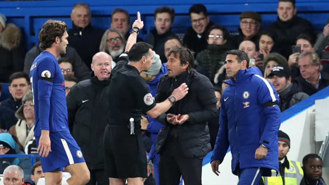 Conte apologises to referee after sending off against Swansea