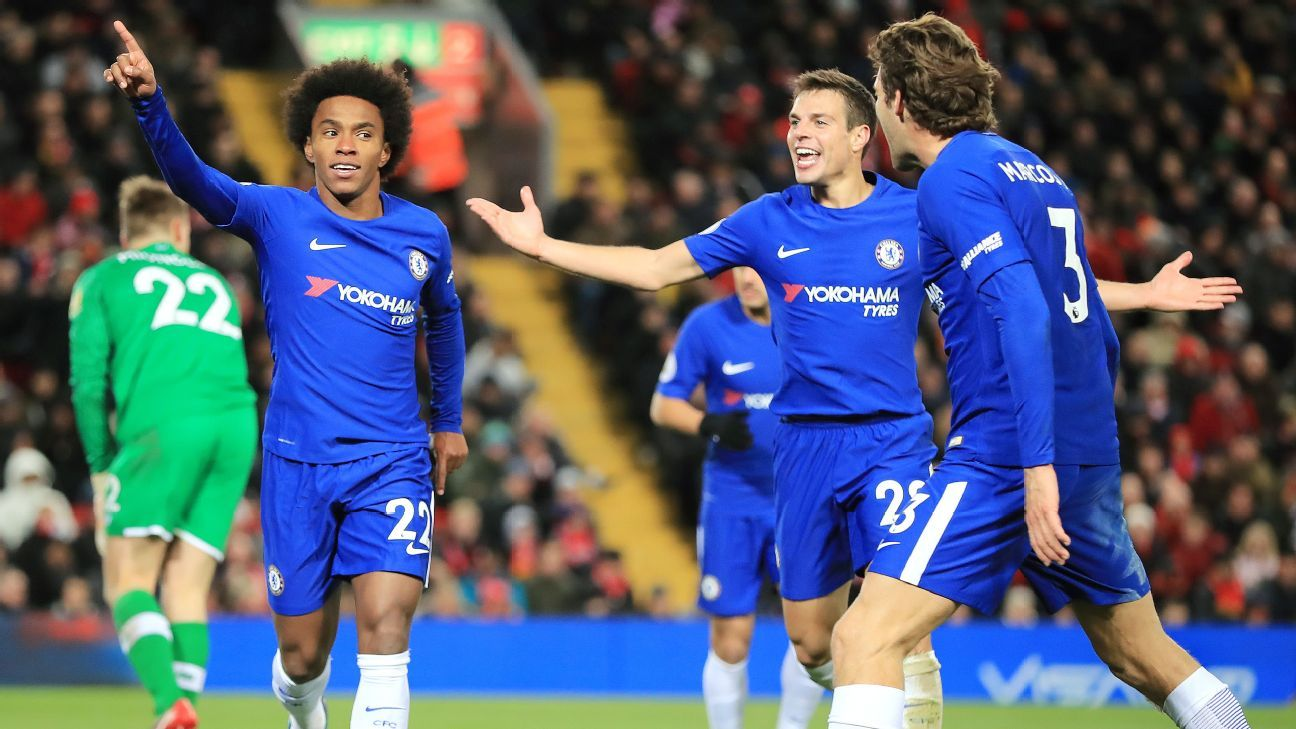 Willian fluke rescues late point for Chelsea at Anfield