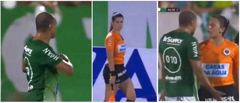 Flirtatious Denilson gets Warning from Female Referee