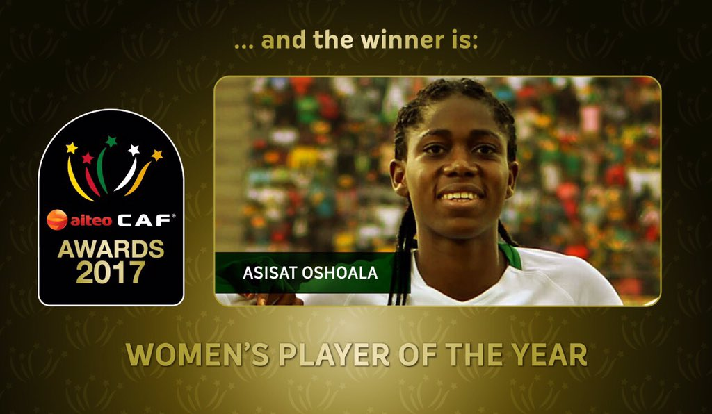 Breaking: Asisat Oshoala wins African Women Footballer of the year Award