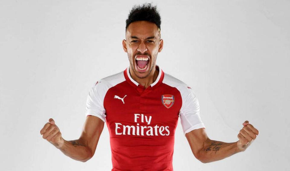 IT'S DONE: Pierre Emerick-Aubameyang completes £56m club-record move to Arsenal