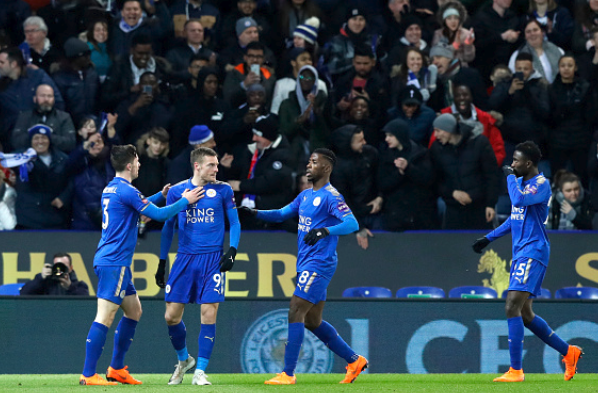 Kelechi Celebrates Leicester City's FA Cup Victory