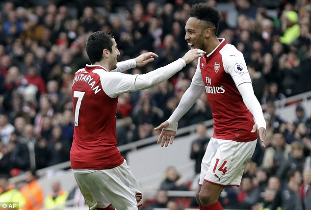 Aubameyang, Mkhitaryan star as Arsenal cruise past Watford on Mother's Day