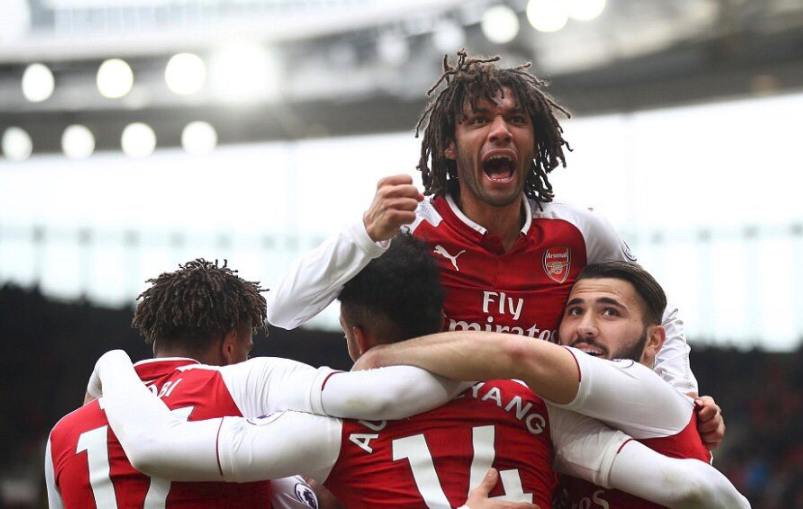 Iwobi celebrates Arsenal's victory against Watford