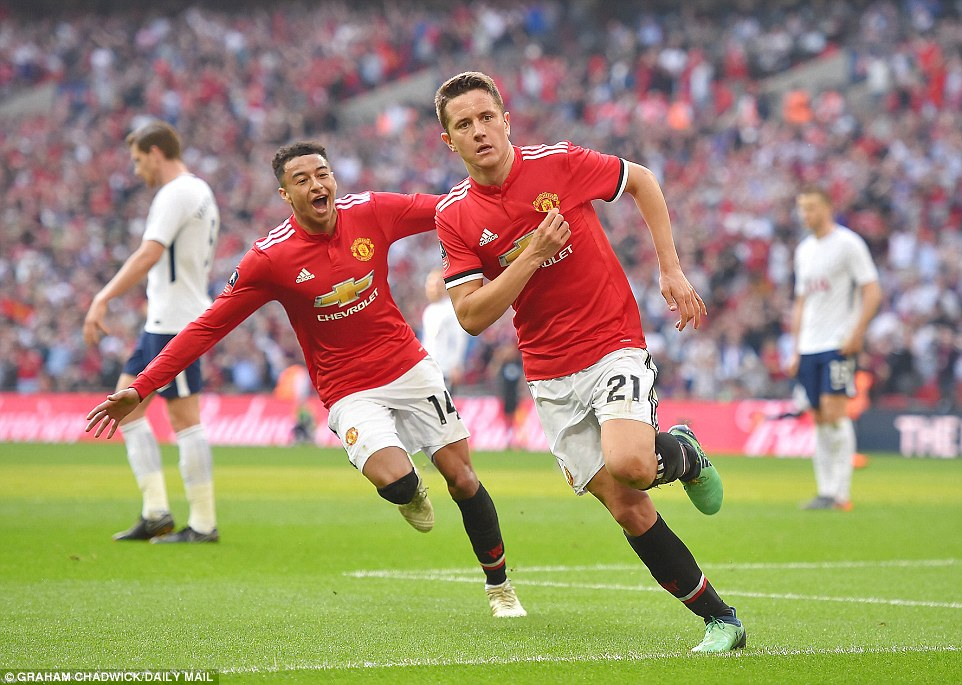Manchester United beat Tottenham 2-1 at Wembley to reach FA Cup final