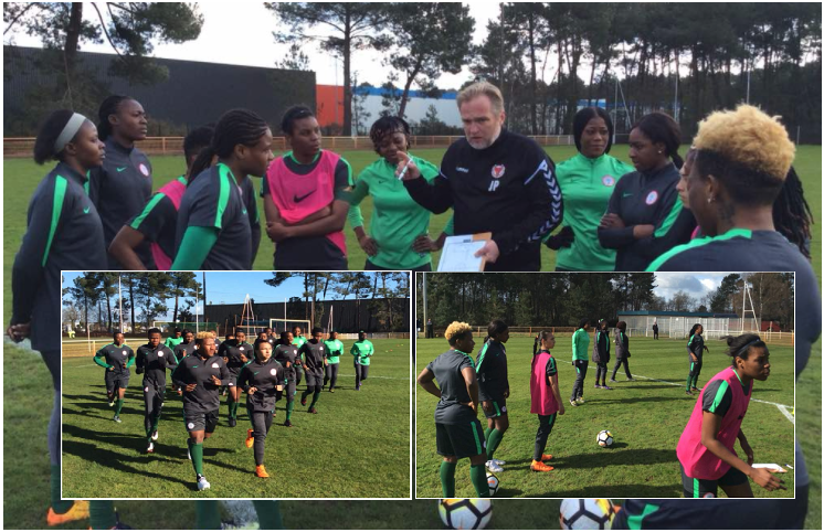 Super Falcons wrap up first Training Session, All 18 Players Involved