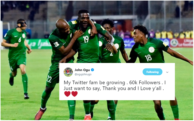 Ogu Celebrates 60K Followers on Twitter, but Which Super Eagles Star has more