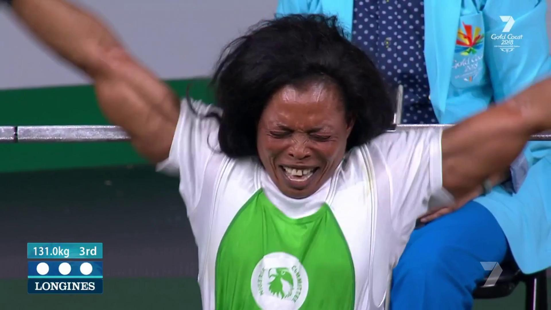 BREAKING! Nigeria's Oyema wins Gold Medal with world record powerlift at 2018 Commonwealth Games