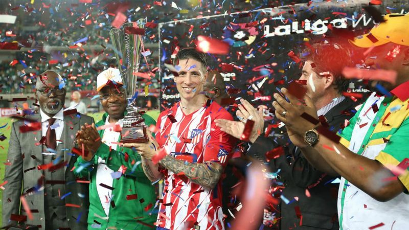 Torres leaves Atletico Madrid in style after winning another trophy in Uyo