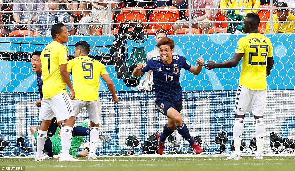 Kagawa, Osako give Japan massive win over 10-man Colombia