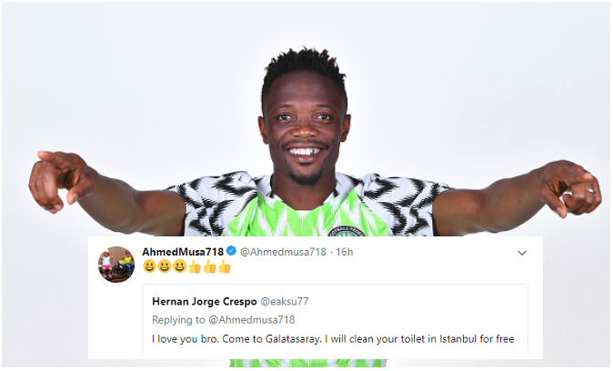 "Fan offers to Clean Ahmed Musa's Toilet ""For Free"" if he dumps Leicester for Galatasaray"