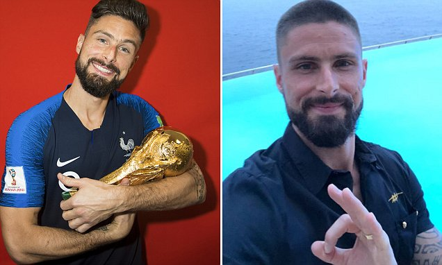 Giroud shaves head following France World Cup victory