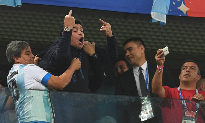 FIFA Scold Maradona for Criticizing American Referee, but almost condoned his Middle Finger gesture at Nigerian fans
