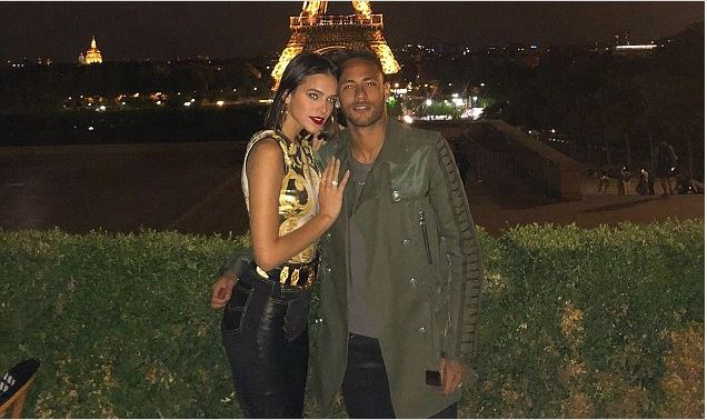 Neymar enjoys night out at the Eiffel Tower with girlfriend Bruna Marquezine