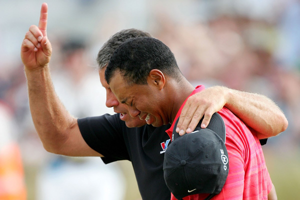 Tiger Woods in tears after first PGA win in five years