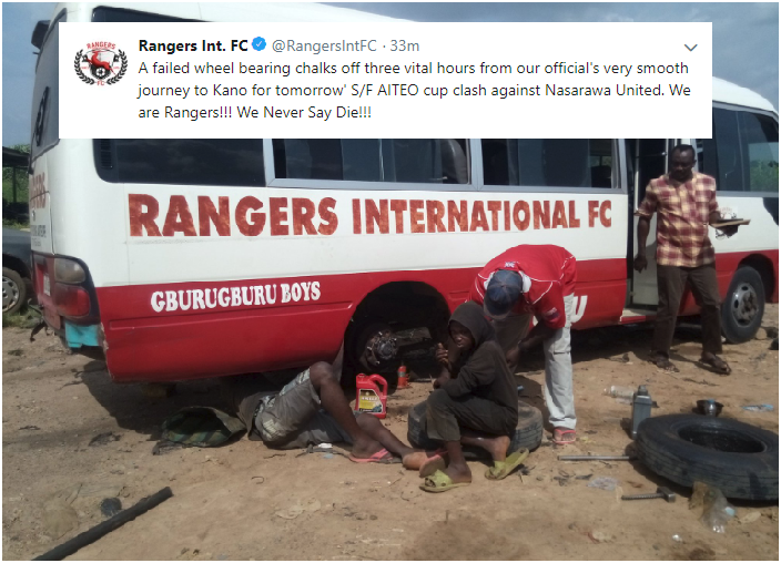 Rangers Twitter Moan over 13-hour Road Trip [Had to fix a Bad Tyre for 3 hours]